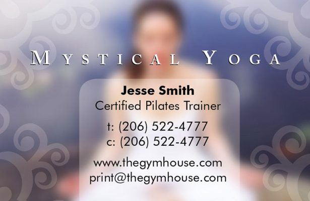 yoga pose with contact text