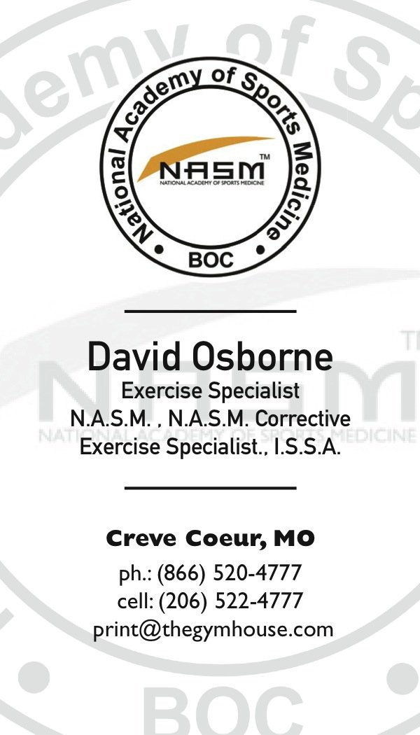 NASM business cards 1 | A Printer for Gyms and Personal Trainers