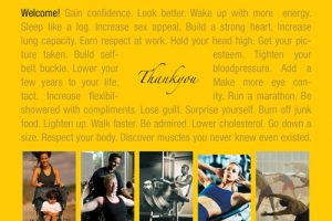 yellow with writing and fitness images