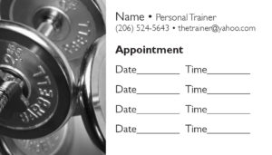 business card back appointment 22