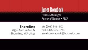 name and contact information on red and black stripes