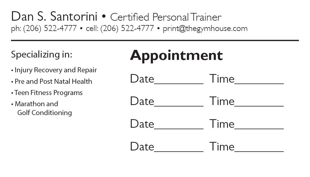Back Appointment Card 21 A Printer For Gyms And Personal