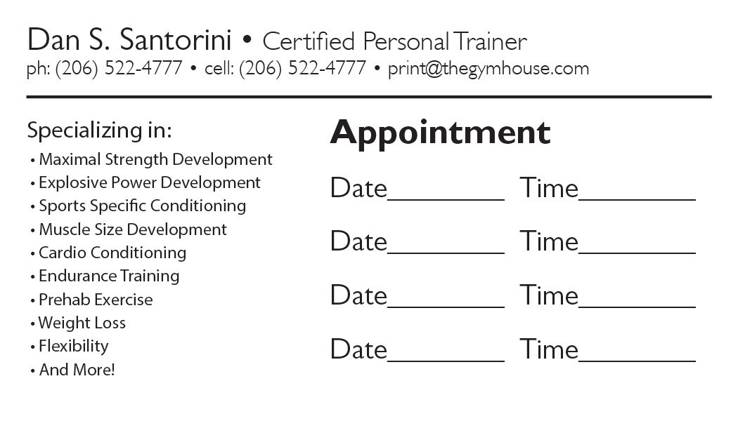 Back appointment card 22 a printer for gyms and personal trainers business card back appointment 12 colourmoves