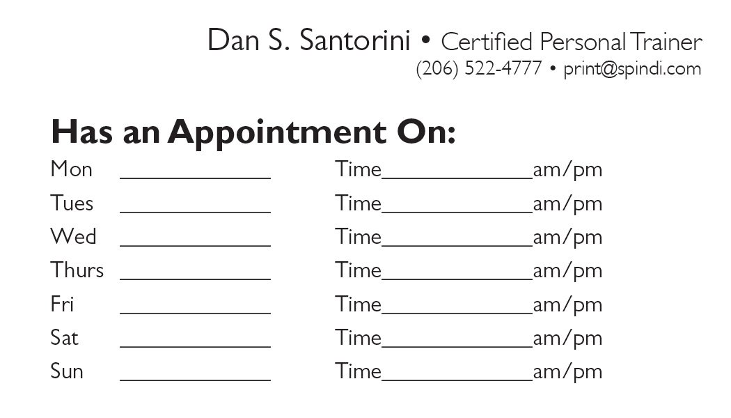back appointment card 13 a printer for gyms and personal trainers