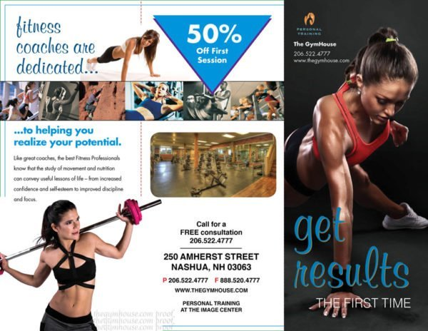front panel gym trainer brochures