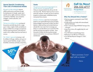 Back panel gym trainer brochure