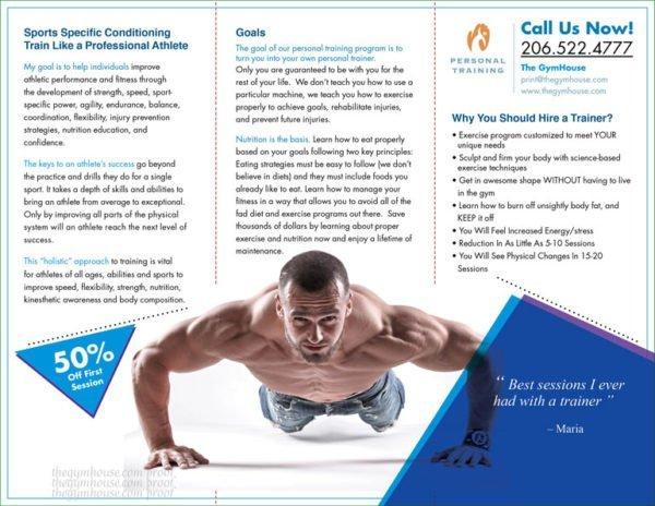 Back panel gym trainer brochure